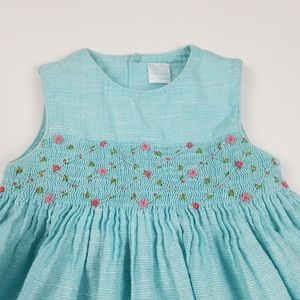 Edgehill Collection smocked blue sleeveless dress